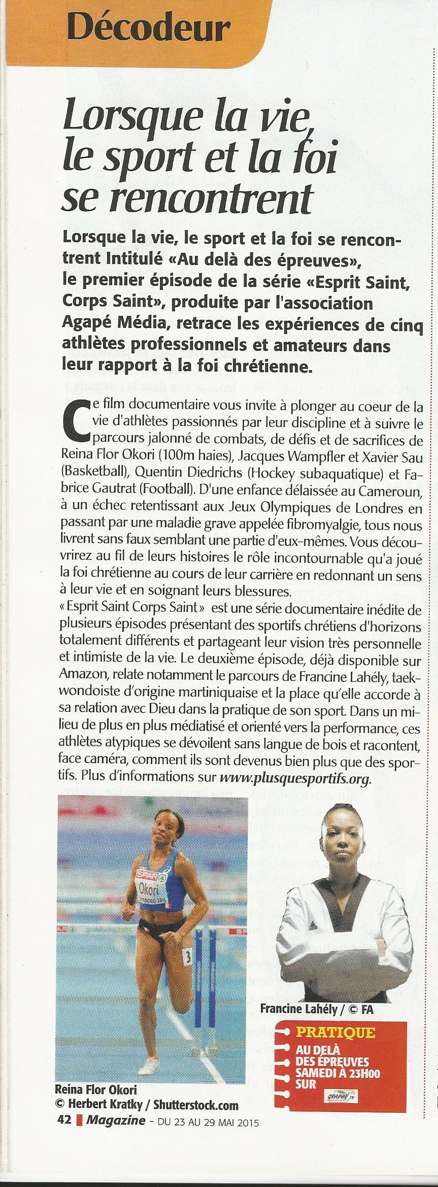 article presse doc sport et foi